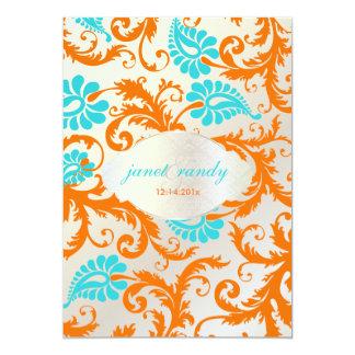 PixDezines pavo damask/coral+aqua 5x7 Paper Invitation Card
