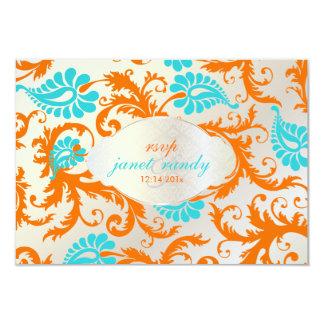 PixDezines pavo damask/coral+blue Card