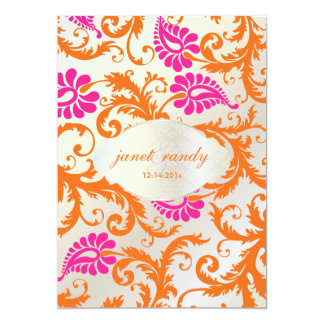 PixDezines pavo damask 5x7 Paper Invitation Card