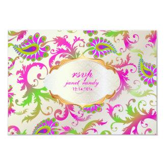 PixDezines pavo damask/lime+pink Card