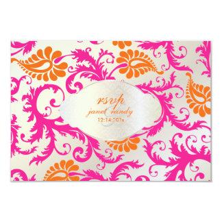 PixDezines pavo damask/tangerine+pink Card