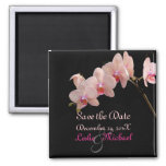 PixDezines Peach Orchid, Save the Date 2 Inch Square Magnet