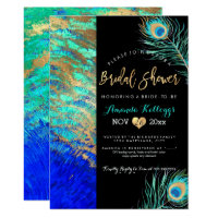 PixDezines Peacock Bridal Shower Faux Gold Invitation