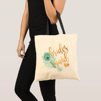 PixDezines Peacock Bridesmaid/Faux Gold Script Tote Bag