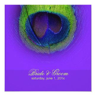 PixDezines Peacock Eye/diy 5.25x5.25 Square Paper Invitation Card