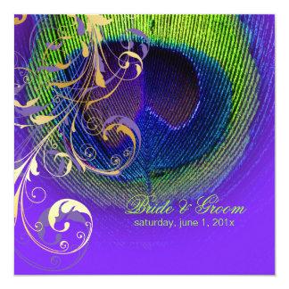 PixDezines Peacock Eye+filigree swirls/diy event! 5.25x5.25 Square Paper Invitation Card