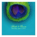 PixDezines Peacock Eye/teal/diy text 5.25x5.25 Square Paper Invitation Card