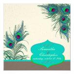 PixDezines peacock feather/aqua/turquoise 5.25x5.25 Square Paper Invitation Card