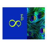 PixDezines Peacock feather/cobalt/diy fonts+color Postcards