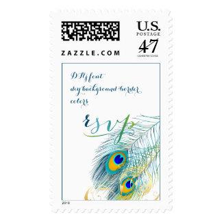 PixDezines peacock feather/DIY background color Postage Stamp