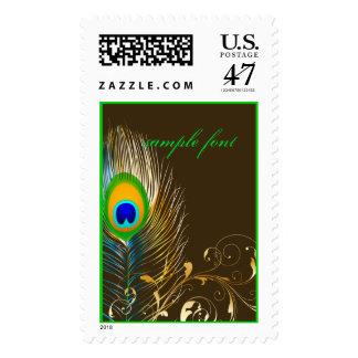 PixDezines peacock feather/DIY postage