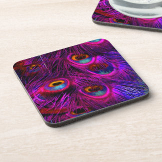 PixDezines Peacock Feather/neon pink Coaster