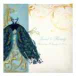 PixDezines peacock feather/teal Custom Invites