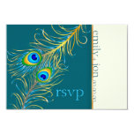 PixDezines peacock feather/teal 3.5x5 Paper Invitation Card