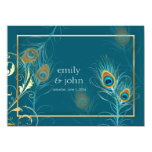 PixDezines peacock feather/teal 5.5x7.5 Paper Invitation Card