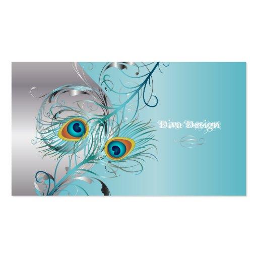 PixDezines peacock filigree+swirls/silver+blue ice Business Card Template