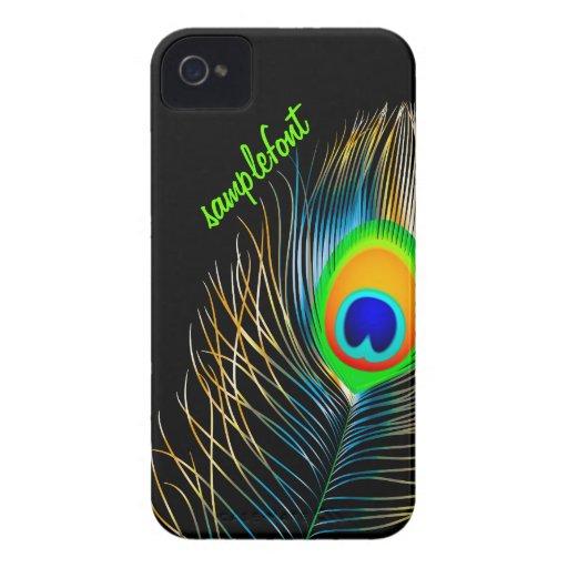 PixDezines peacock plume/ diy background colors iPhone 4 Case-Mate Case