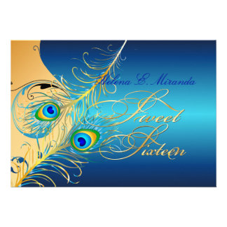 PixDezines Peacock+swirls gold+teal Personalized Announcement