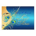 "PixDezines Peacock+swirls/gold+teal 5"" X 7"" Invitation Card"