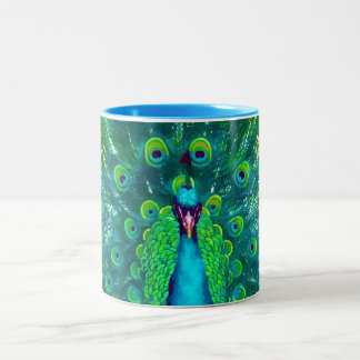 PixDezines peacock/teal/aqua blue Two-Tone Coffee Mug
