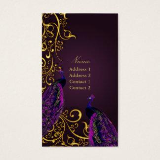 PixDezines Peacocks on gilded iron swirls|DIY colo Business Card