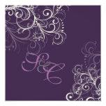 PixDezines Pearly swirls+Plum  Wedding Invitations