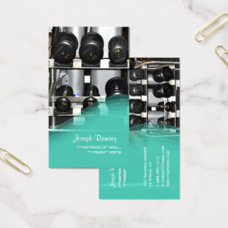 PixDezines PERSONAL TRAINER/GYM/TEAL Business Card