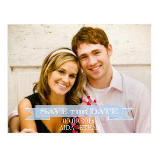 PixDezines photo/save the date/blue ribbon Postcard