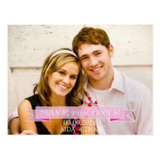 PixDezines photo/save the date/pink ribbon Postcard
