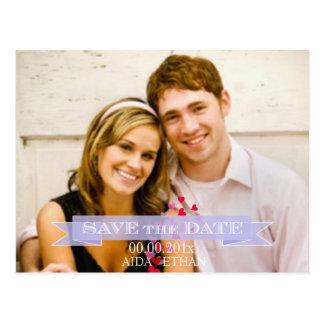 PixDezines photo/save the date/purple ribbon Postcard
