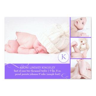 "PixDezines photo template birth announcement 5"" X 7"" Invitation Card"