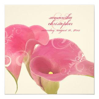 PixDezines Pink Calla Lily + Swirls Invitation