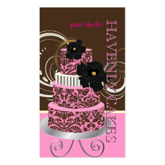 PixDezines Pink Chocolate damask cake/pâtisserie Business Card