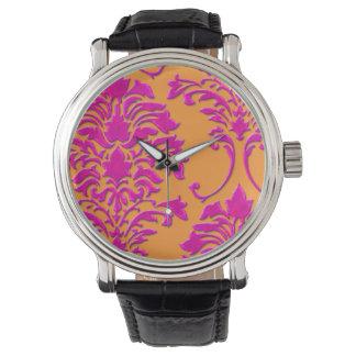 PixDezines pink damask/diy background Watch