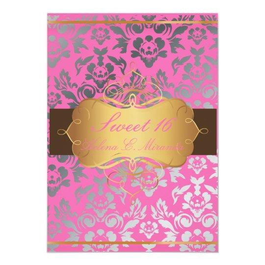 PixDezines Pink Damask/Sweet 16/tiara/diy colors Card