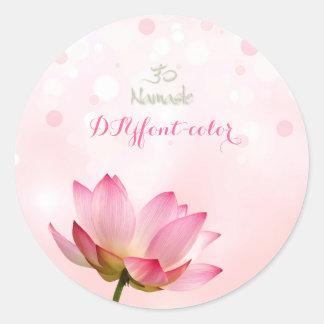 PixDezines pink lotus Classic Round Sticker