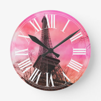 PixDezines pink paris/eiffel tower Round Clock