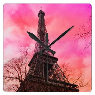PixDezines pink paris/eiffel tower Square Wall Clock