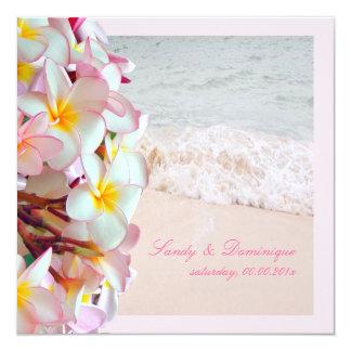 PixDezines pink plumeria/beach/diy background Invites