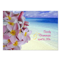 PixDezines Pink Plumeria   Beach Invitation