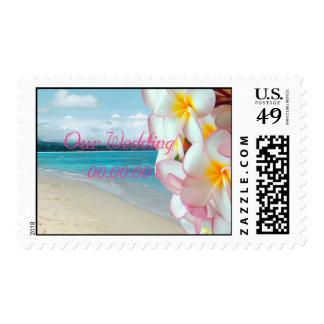 PixDezines Pink Plumeria beach save the date DIY Stamp