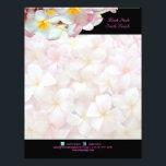 "PixDezines pink plumeria/beach stationery/diy colo Letterhead<br><div class=""desc"">PixDezines a wedding stationery ensemble of pink plumeria and swirls for a destination weddings.  Special request from a bride to be..  Copyright &#169; 2011-2012 PixDezines.</div>"
