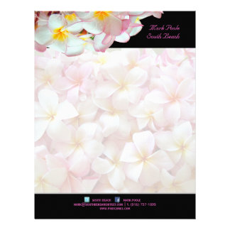 PixDezines pink plumeria/beach stationery/diy colo Letterhead Design