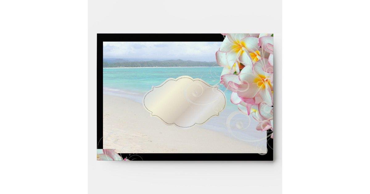 PixDezines Pink Plumeria/beach/tropical wedding Envelope | Zazzle Z Table