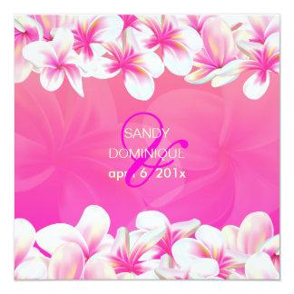 PixDezines Pink Plumeria/hot pink 5.25x5.25 Square Paper Invitation Card