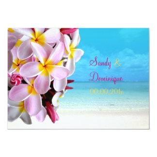 PixDezines pink plumeria Lei /beach Personalized Invites