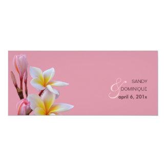 "PixDezines Pink Plumeria Wedding Invitations 4"" X 9.25"" Invitation Card"