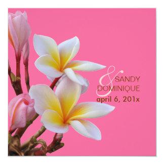 """PixDezines Pink Plumeria Wedding Invitations 5.25"""" Square Invitation Card"""