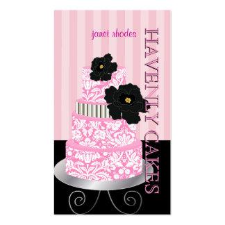 PixDezines Pink stripes+damask cake/pâtisserie Business Card Templates