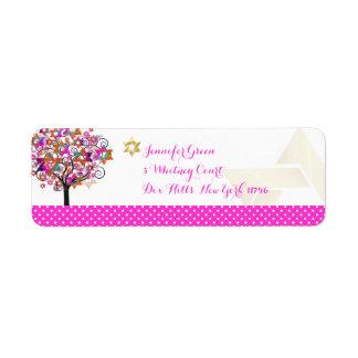PixDezines Pink Tree of Life/Bat Mitzvah Label